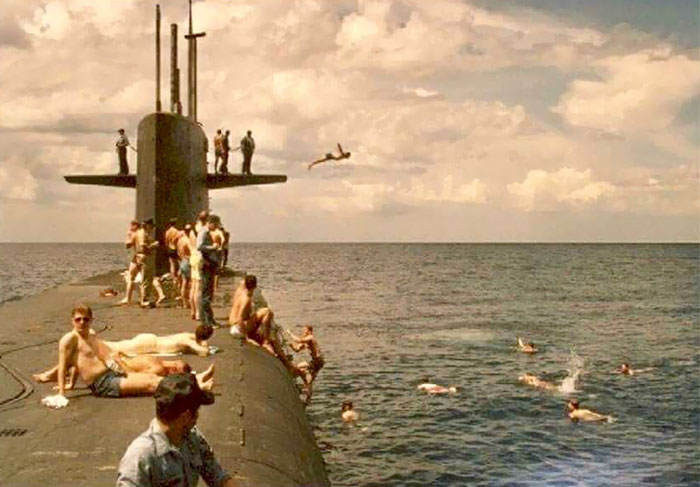 My Dad Diving Off The Starboard Fin Of A Submarine And Into The Pacific Ocean In The Summer Of 1983