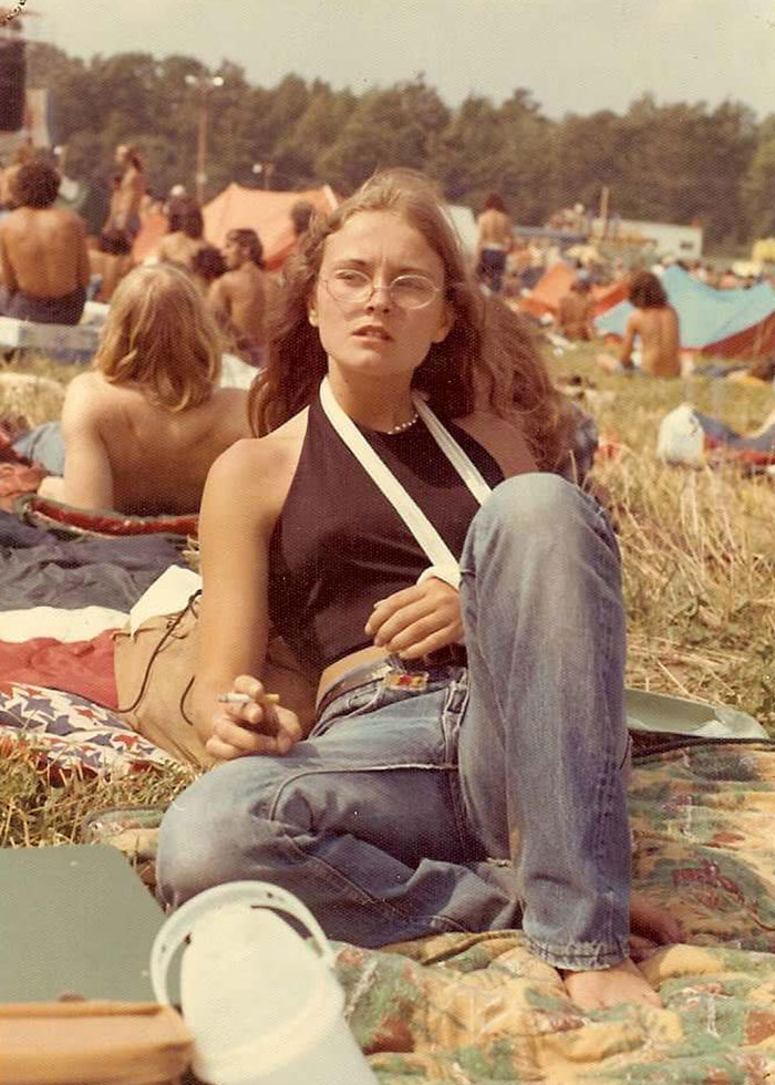 My Mom, Age 15, Smoking At An Allman Brothers Concert With A Broken Arm. Watkins Glen '73