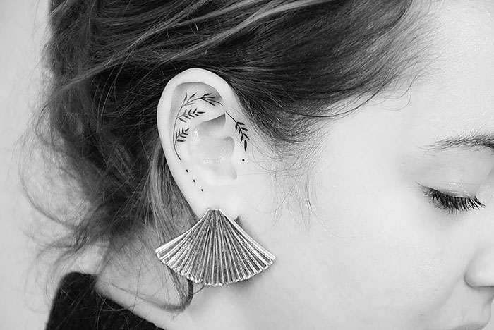 Simple, Yet Very Beautiful Ear Tattoo
