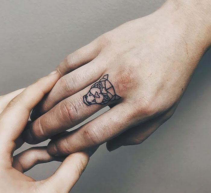 Geometrical Finger Tattoo