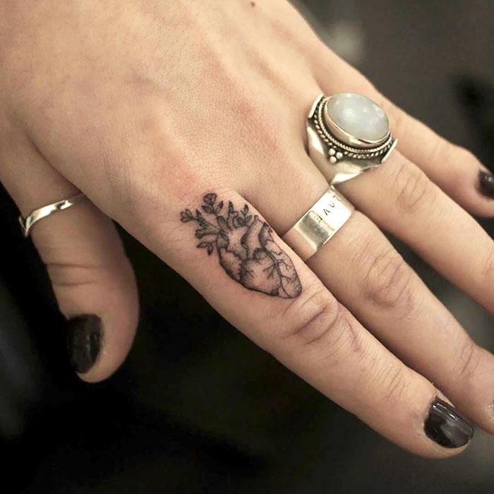Dainty Little Anatomical Heart Tattoo