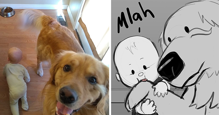 Father Illustrates The Friendship Between His Baby And Their Dog (30 New Comics)