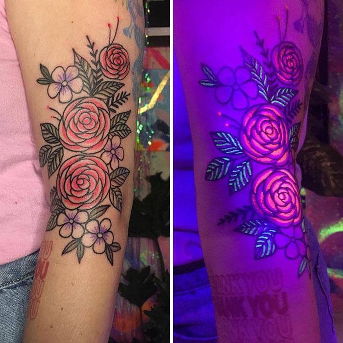Big Glow In The Dark Floral Tattoo
