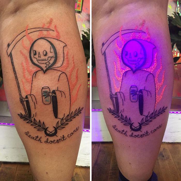 A Glowing Ink Death Tattoo