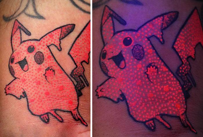 I Made This Black Light Melty Pikachu Tattoo