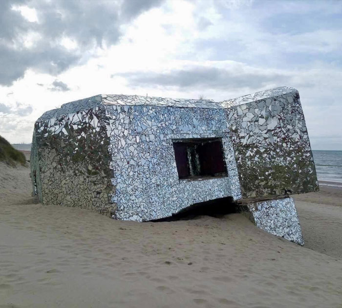 Old WWII Bunker Covered With Broken Mirrors In Dunkirk, France