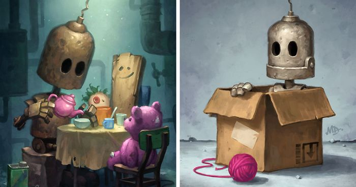 Lonely Robots Experiencing The Quiet Wonder Of The World New  Illustrations  Bored Panda