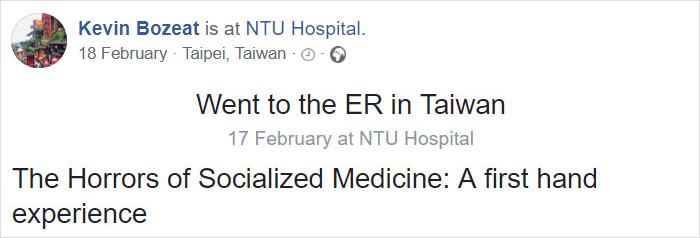 People Are Questioning The U.S. Healthcare System After This American Gets Hospitalized In Taiwan And Only Has To Pay $80
