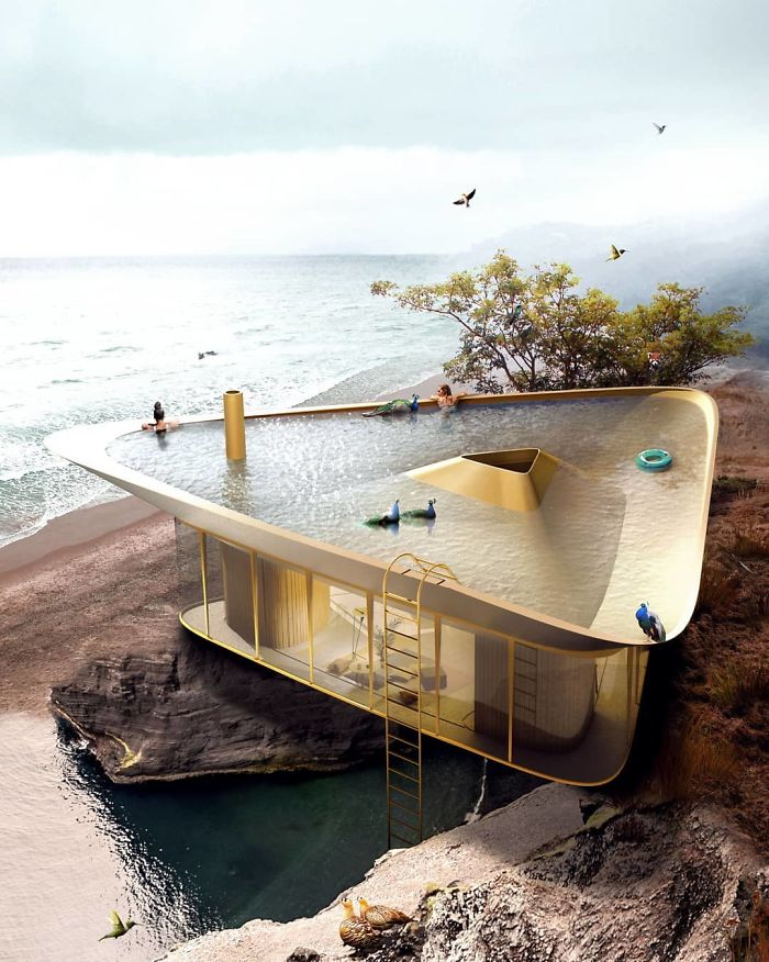 Summer house designed with a pool on its roof can be as for Pool design concepts