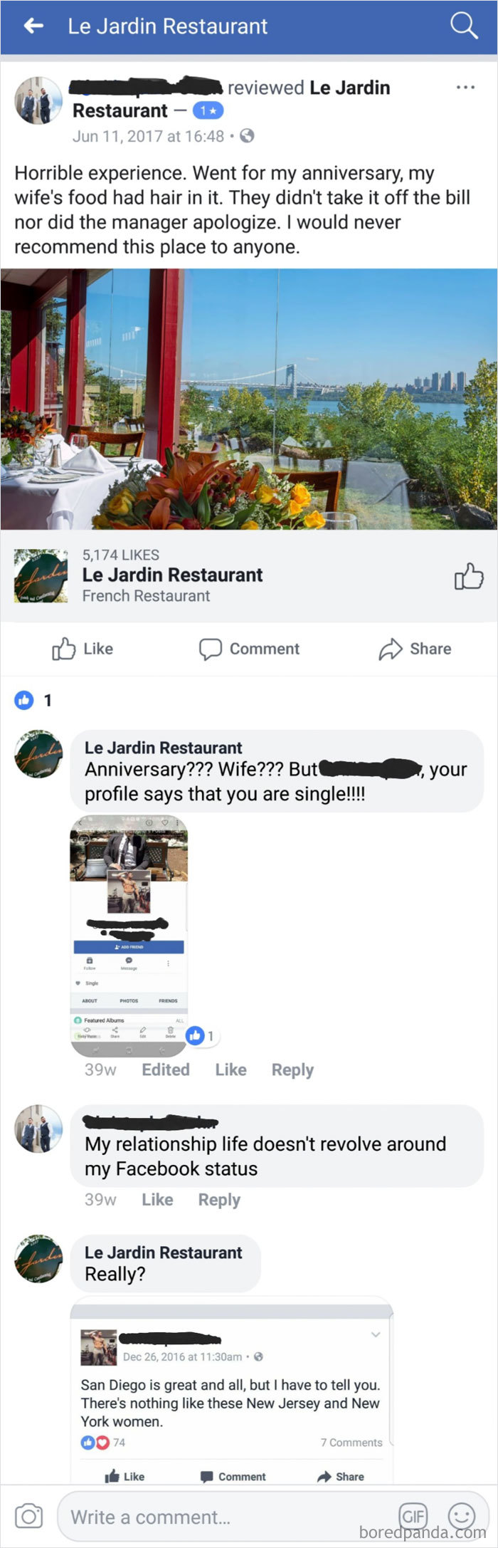 Restaurant Calls Out Reviewer.