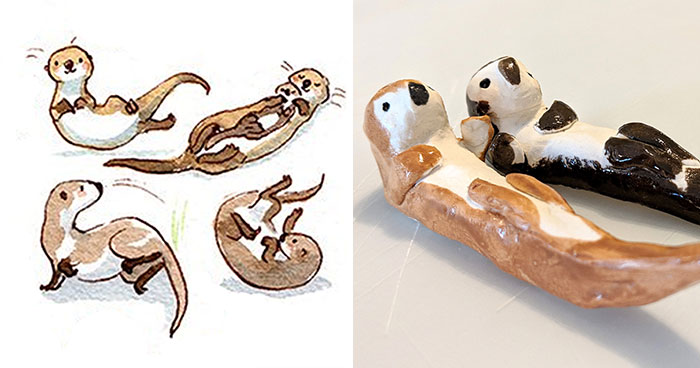 I Challenged Myself To Draw 101 Otters And Then Decided To Sculpt Them