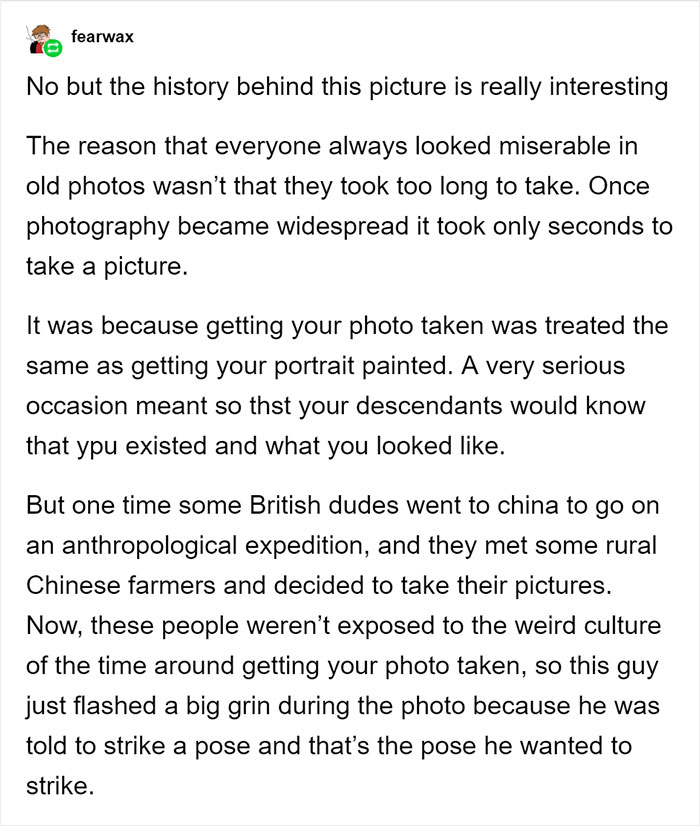 After People Claimed That This Smiling Man Photo From 1901 Was Fake, Tumblr User Explained That Rural Chinese People Didn't Know How To Pose