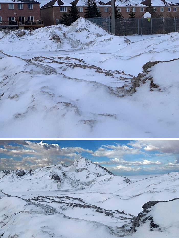 Thought This Snowbank Looked Like A Mountain Range (I Photoshopped The Background In The Second Picture To Prove It)