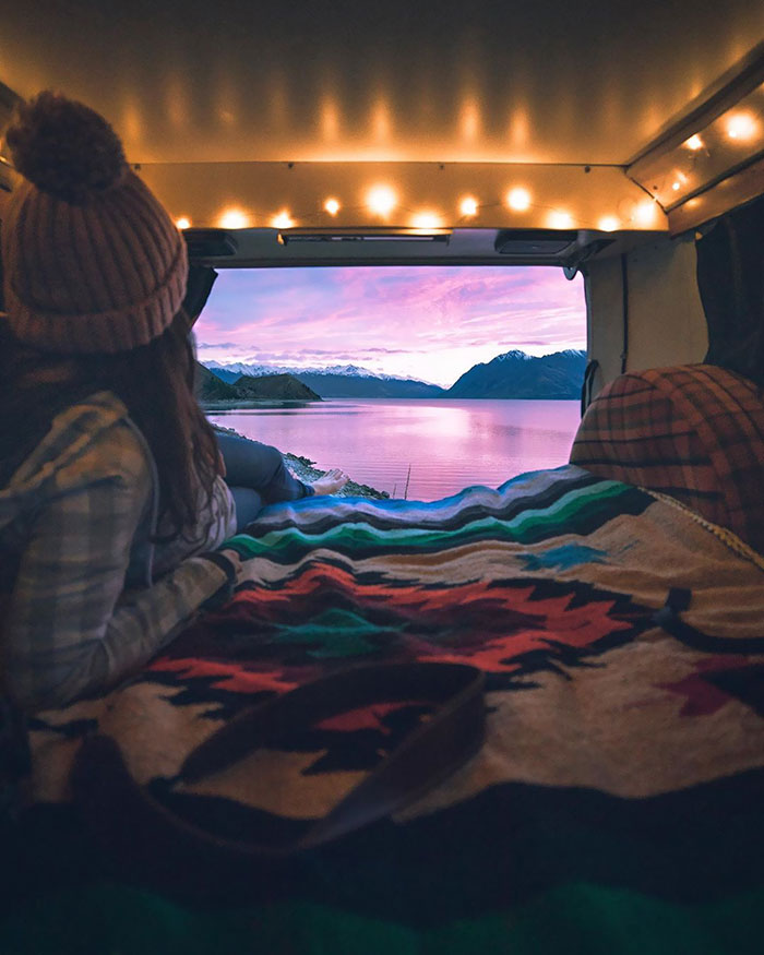 Taking In That Sunrise From The Back Of A Van