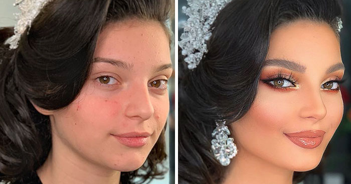 11 Photos Taken Before And After Brides Got Their Wedding Makeup