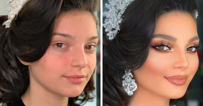 106ee7a81dde7 11 Photos Taken Before And After Brides Got Their Wedding Makeup ...