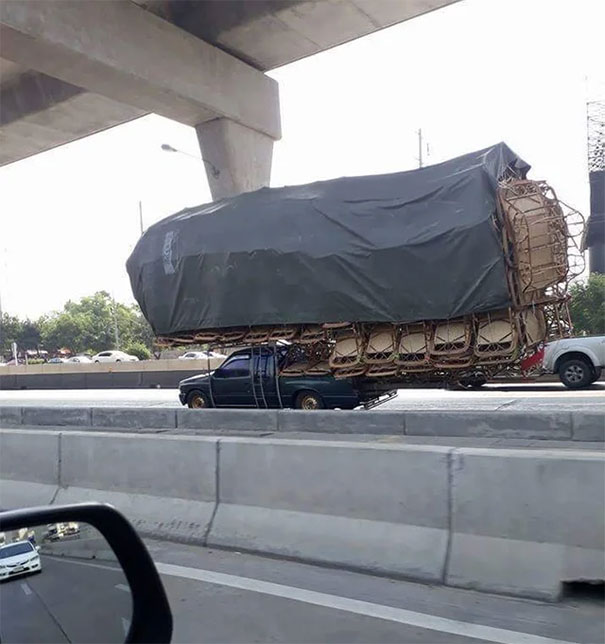 This Truck Transporting Chairs In Thailand