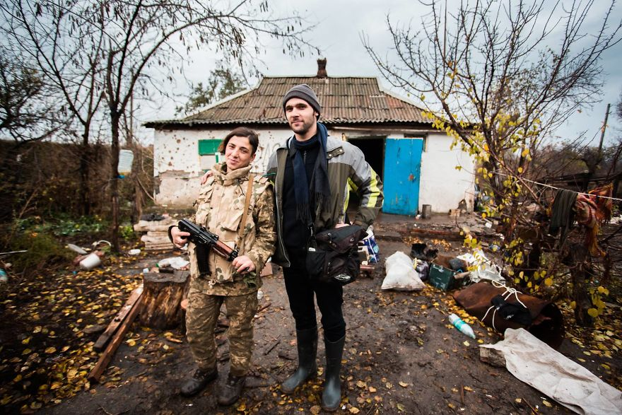 Me With A Georgian Soldier In Donbas, Ukraine
