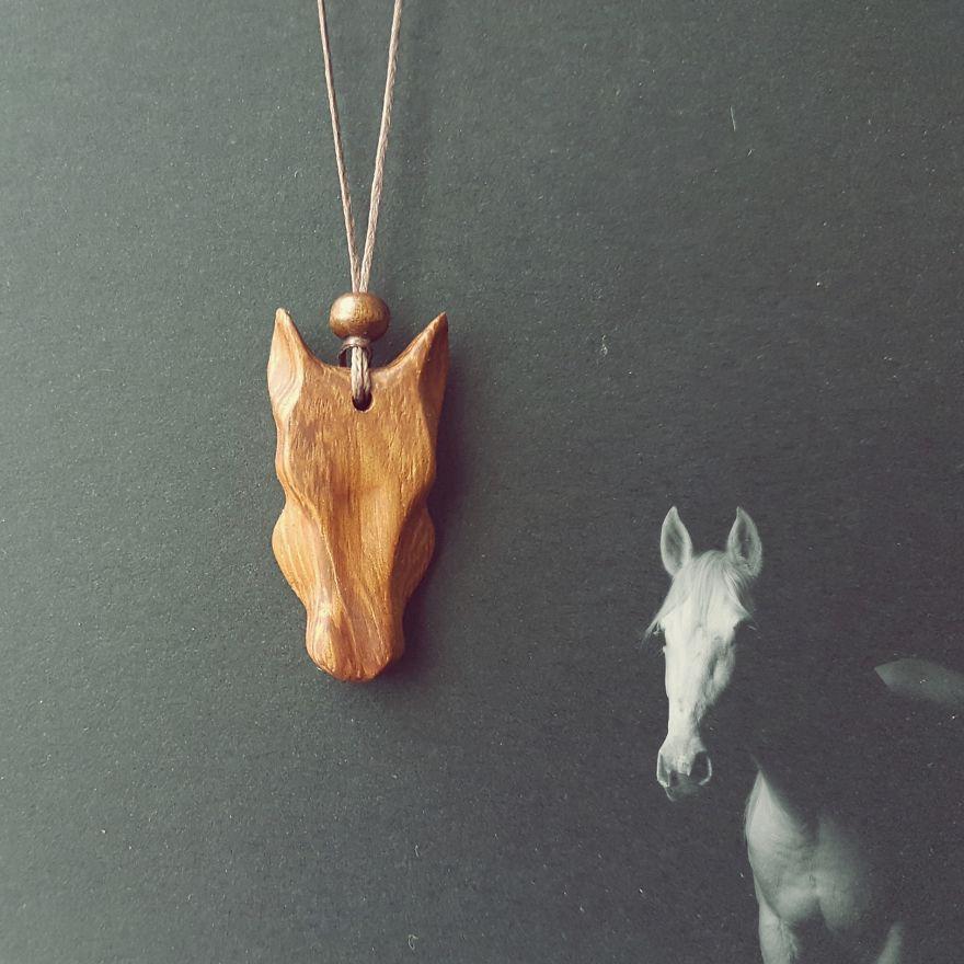Horse Necklace Made Of Mahogany Wood
