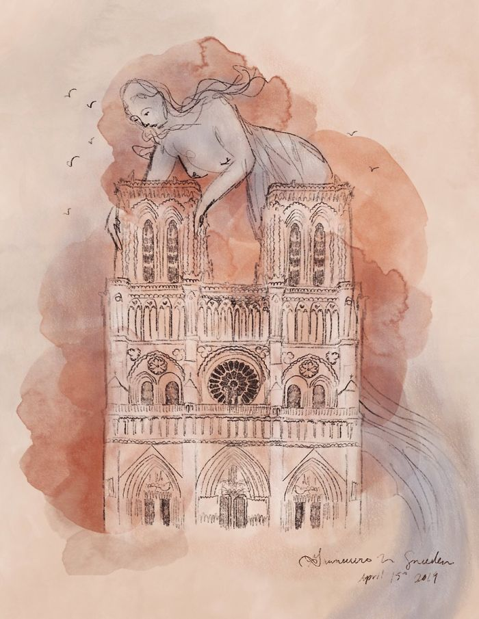 It Was Heartbreaking Today, Watching Notre Dame Engulfed In Flames. And As I Watched, I Couldn't Help But To See The Spirit Of The Seine, Swept Up, Its Arms Around The Roof, Dampening The Flames.