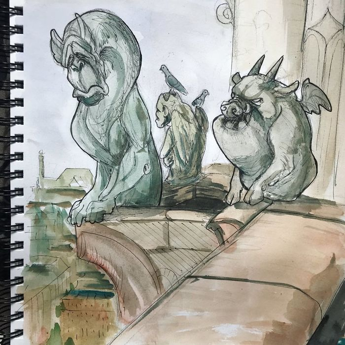 Quickie Doodle Of My Version Of The Gargoyles From Hunchback Of #notredame. My Grandfather Was French So I Will Always Have A Soft Spot For That Incredible City, And Speak French With A Cheerful Yet Terrible American Accent