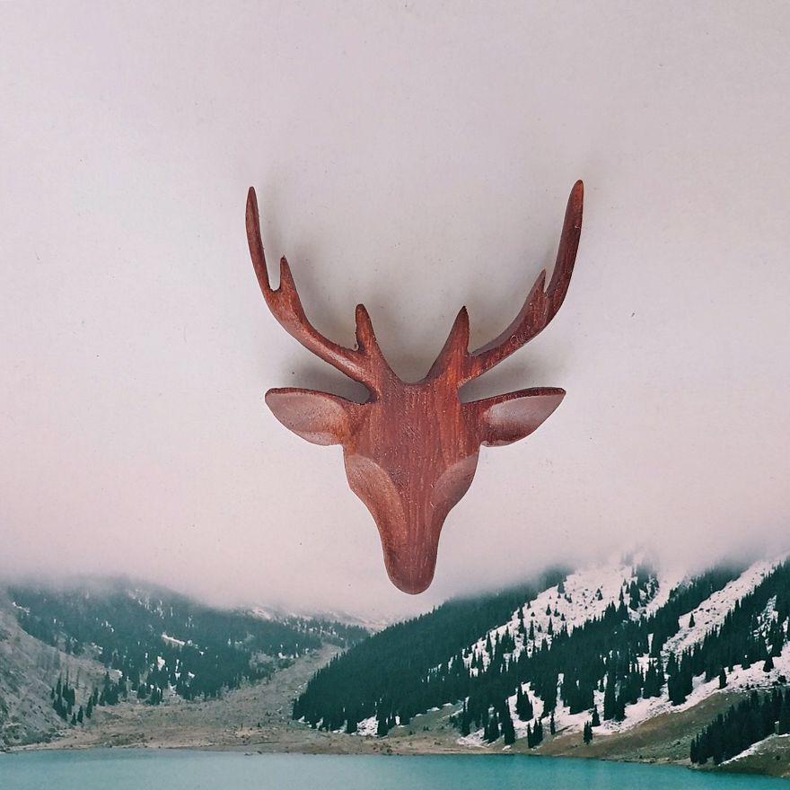Deer Necklace Made Of Rose Wood