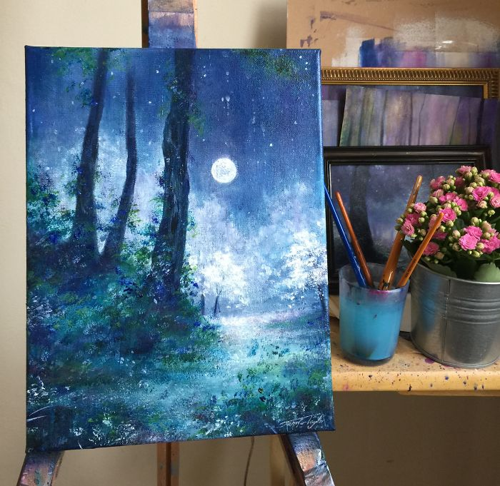 Winter's Moon On Easel
