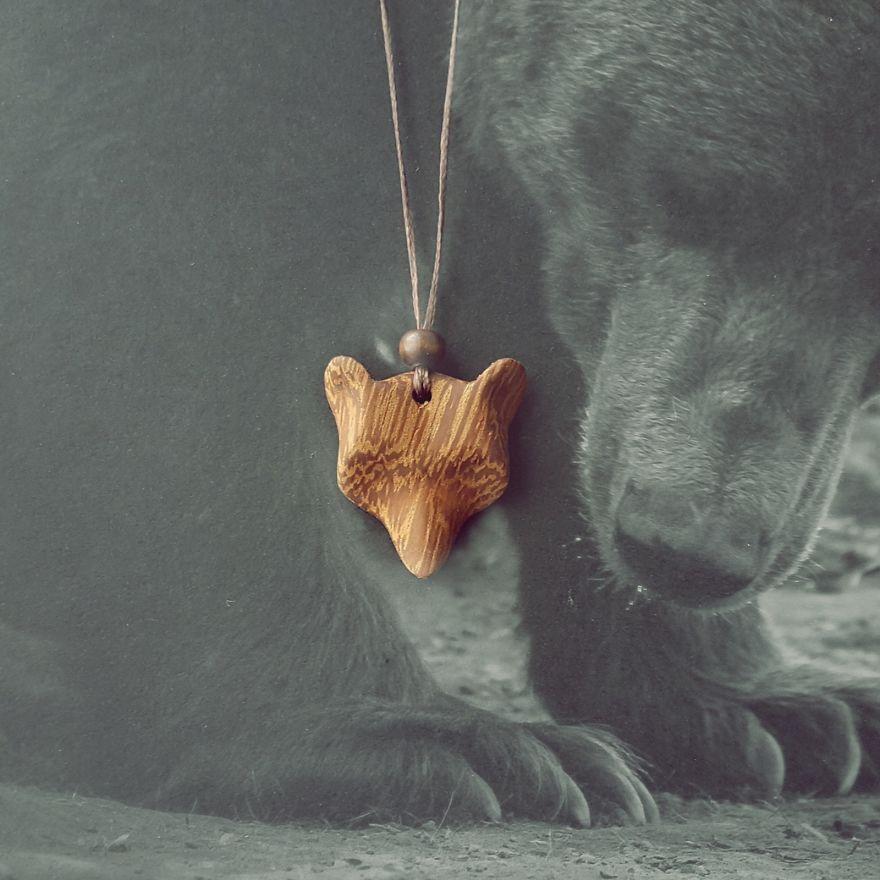 Bear Necklace Made Of Mahogany Wood