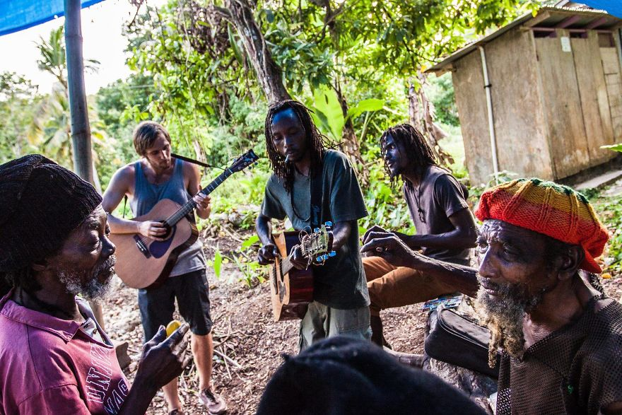 Playing Guitar With The Jamaican Rastafarians