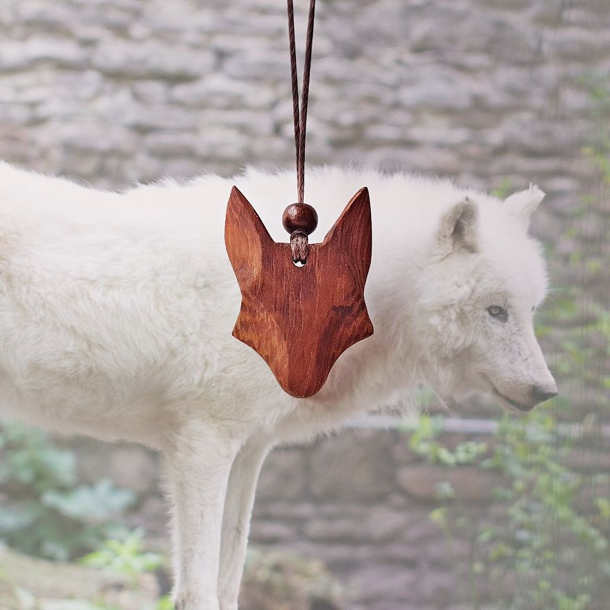 Wolf Necklace Made Of Mahogany Wood