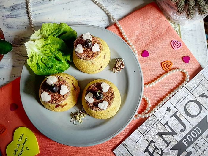 Millet With Mushrooms, Burger, And Radish Hearts