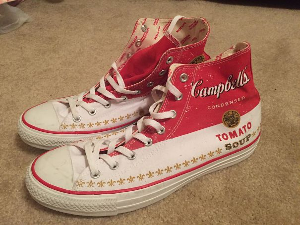 These Campbell's Tomato Soup Shoes I Received For Christmas Years Ago