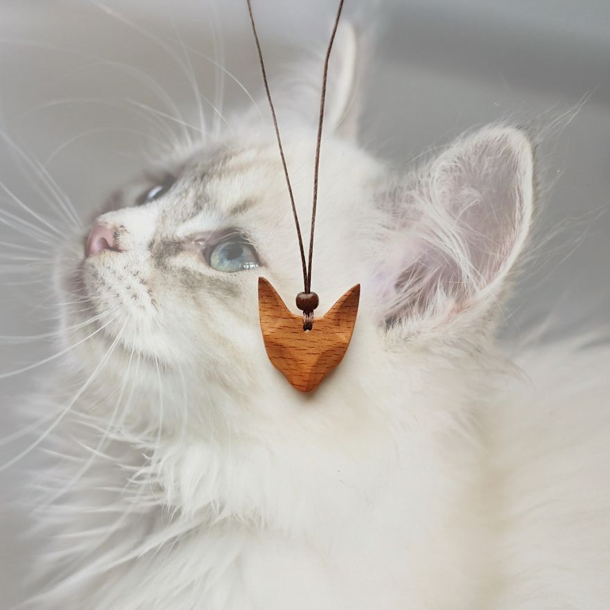 Cat Necklace Made Of Hornbeam Wood