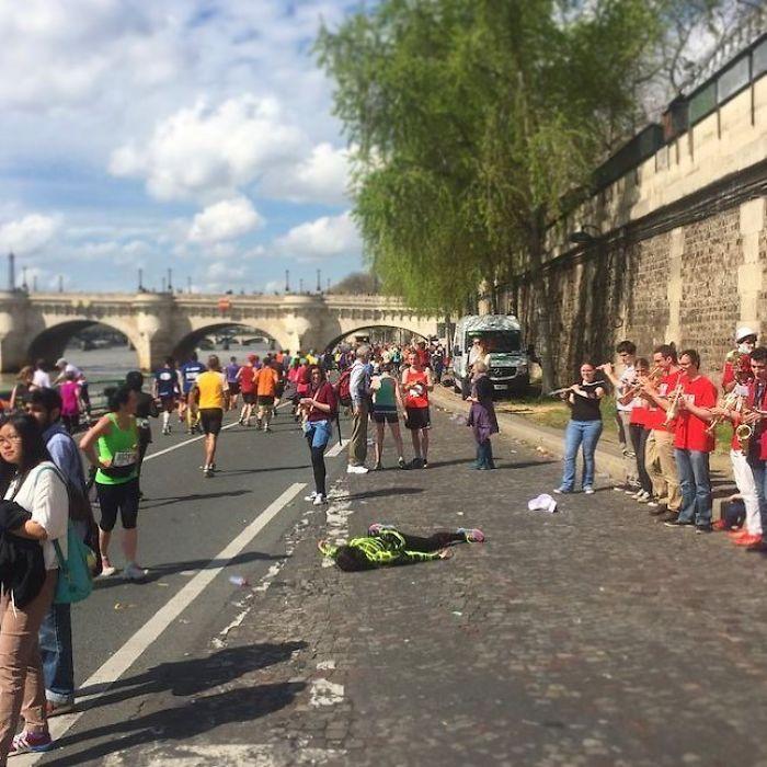 Durante el maratón de París