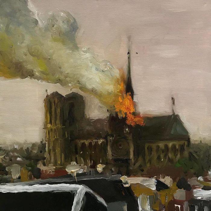 """""""Notre Dame"""", Oil On Canvas, 14""""x14"""" #notredame #paris #oilpainting #oiloncanvas #studiovisit #artstudio #contemporaryart #notredameburning #notredamecathedral #notredamedeparis"""