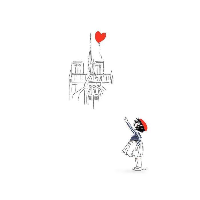 «il Y A Toujours De L'espoir» #paris #notredame #thereisalwayshope #parisjetaime #notredamedeparis #inspirationbansky #parisfrance #france #coeurdenotrepays #mariesavartillustrations #illustration