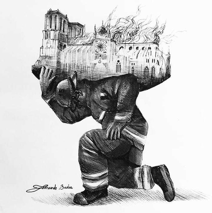 2 Siècles Pour La Bâtir, 856 Ans Pour L'entretenir, Quelques Heures Aux Flammes Pour La Rendre En Cendres Mais Une Partie Sauvée Grâce Aux @pompiers_paris. Merci. bravo @fernandobarbaart Pour Cette Superbe Illustration #paris #notredame #notredamedeparis #cathedrale #symbole #monument #capitale #patrimoine #architecture #victorhugo #illustration #pompiers #fire #art #france #visitparis #parismonamour #parisgram #parisfrance #french #travel #visitfrance #tragedie #sad