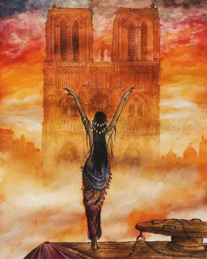 """Vivre"" #notredame #notredamedeparis #esmeralda #paris #longlivethequeen #victorhugo #sunset #sky #gothic #dance #spirits #tribute #notredametribute #illustration #notredameillustration #drawing #watercolor #nddp #giulioingrossoart"