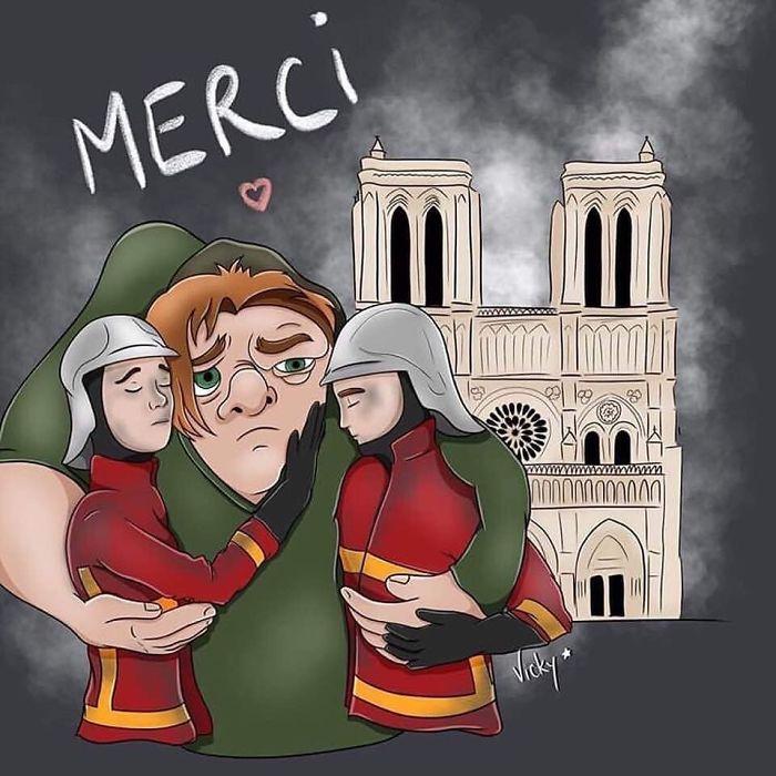 #notredame #fire #firefighter #quasimodo #merci #photo