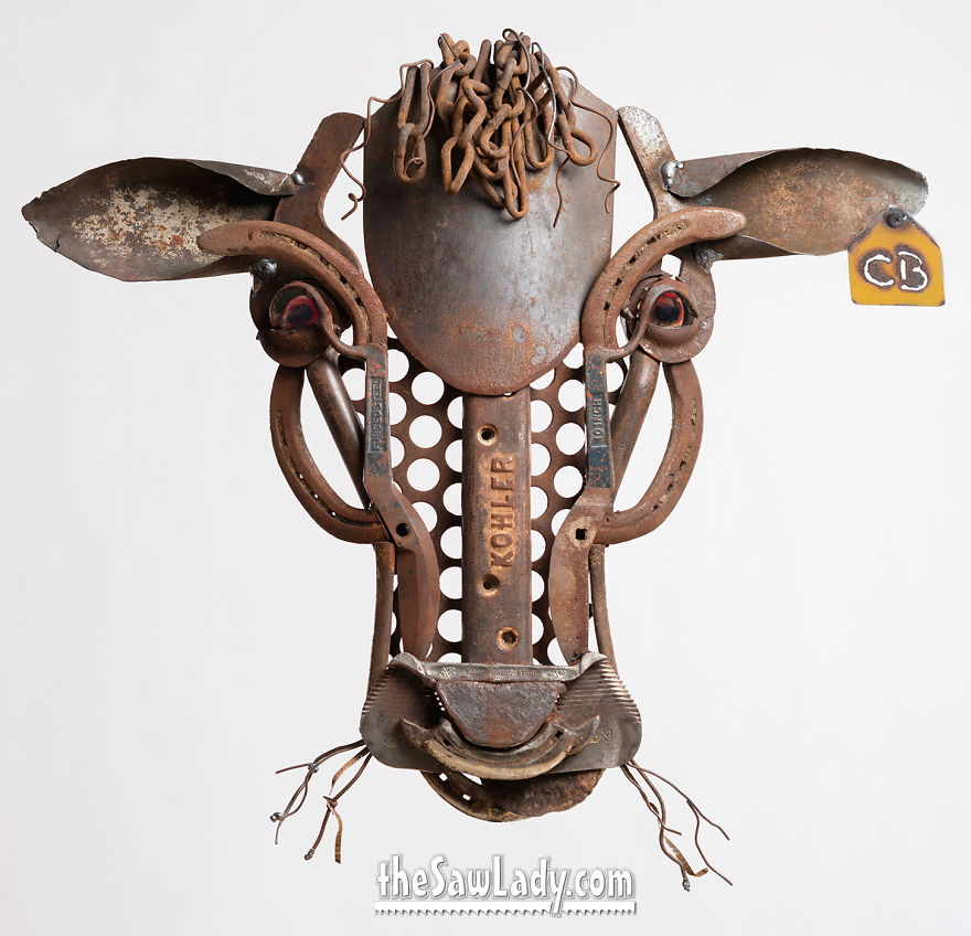 """I Make """"Barnyard Portraits"""" From Scrap Metal I Find On Farms!"""