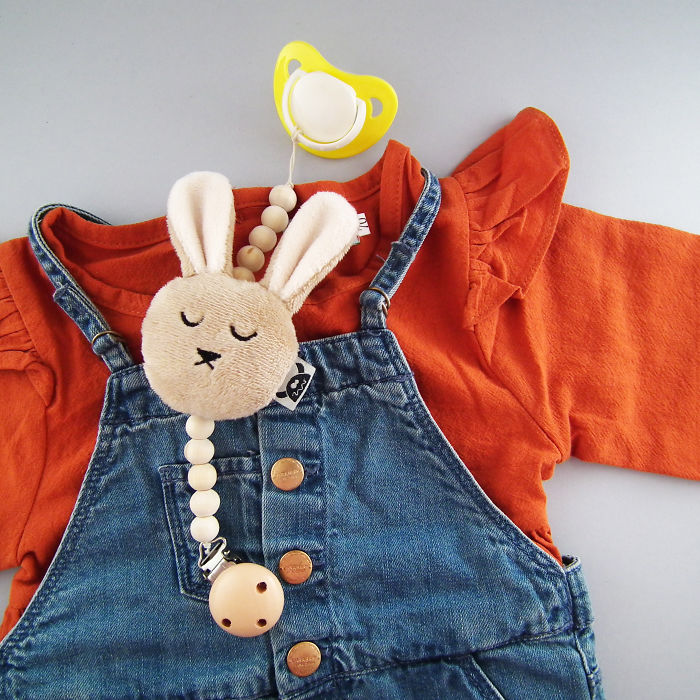 Bunny And Wood Pacifier Holder