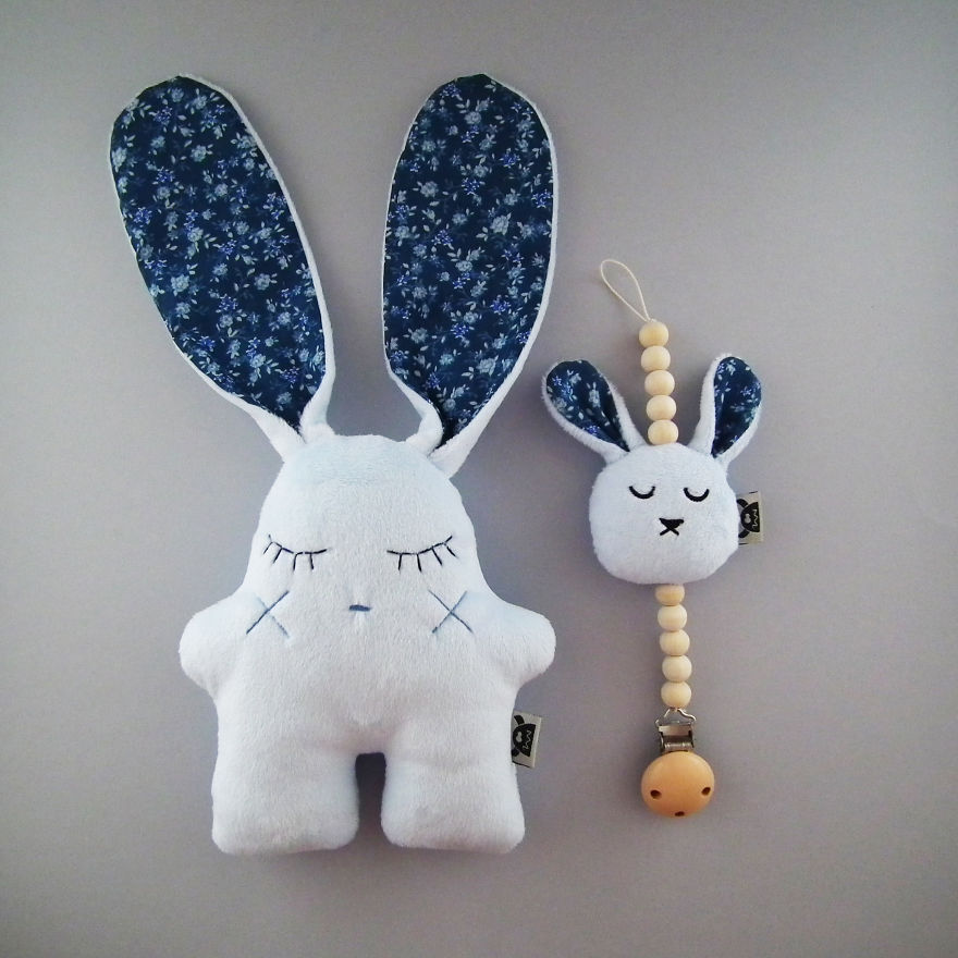 Baby Set Of Blue Bunnies