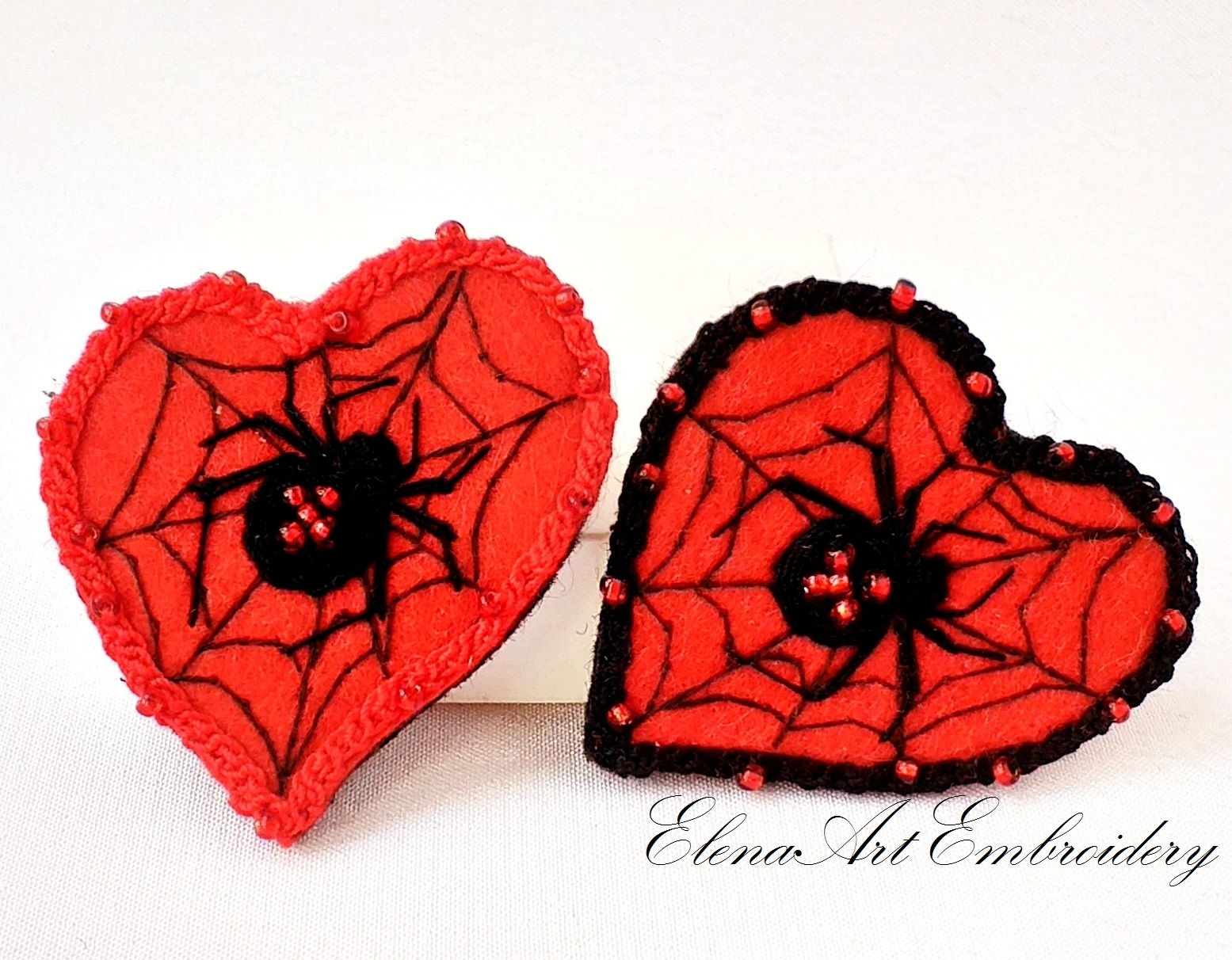 Hand Embroidered Brooch Red Heart With Black Spider.