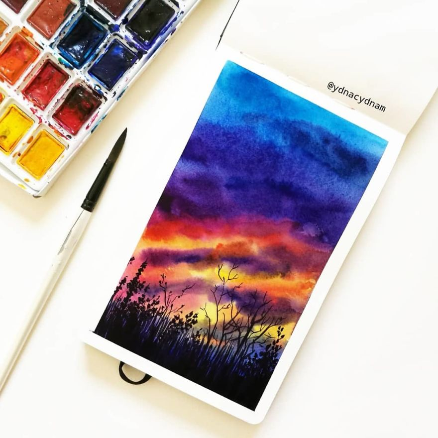 I Create Landscapes Using Watercolor