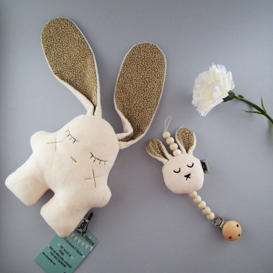 Matching Baby Set, Nooz And The Bunny Pacifier Holder