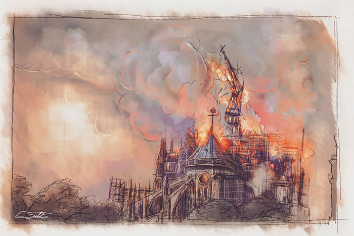 Yesterday Notre Dame De Paris Was Partially Destroyed In A Fire. My Heart Is Bleeding. As A Tribute To This Wonderful Monument From Our Country, I Decided To Paint This Tragic Event.