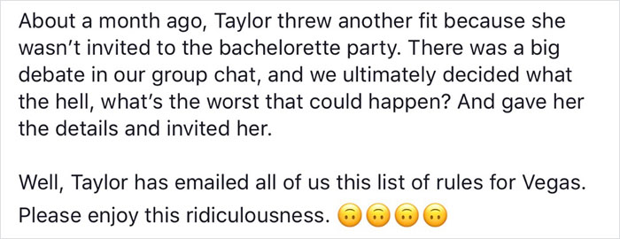 Woman Who Was Invited To Bachelorette Party Out Of 'Pity' Sends Out List Of Insane Rules All Girls Must Follow