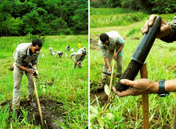 Farmers in open grass field farming the land for growing crops