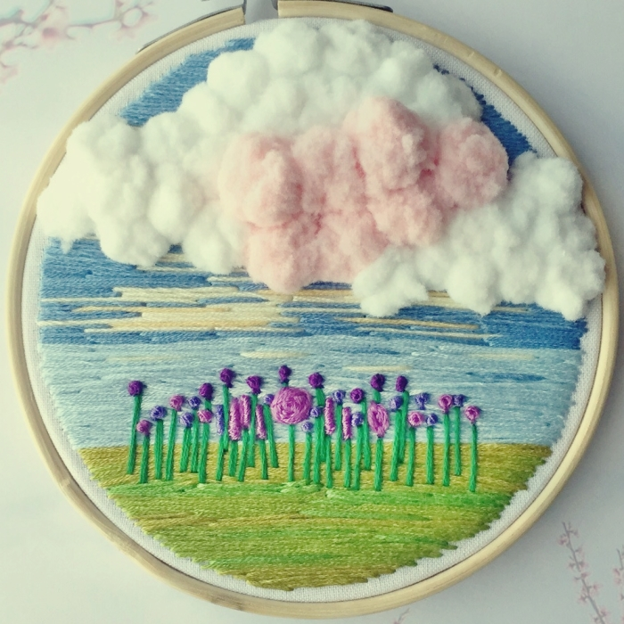 I Create Embroidery Hoop Art With Clouds