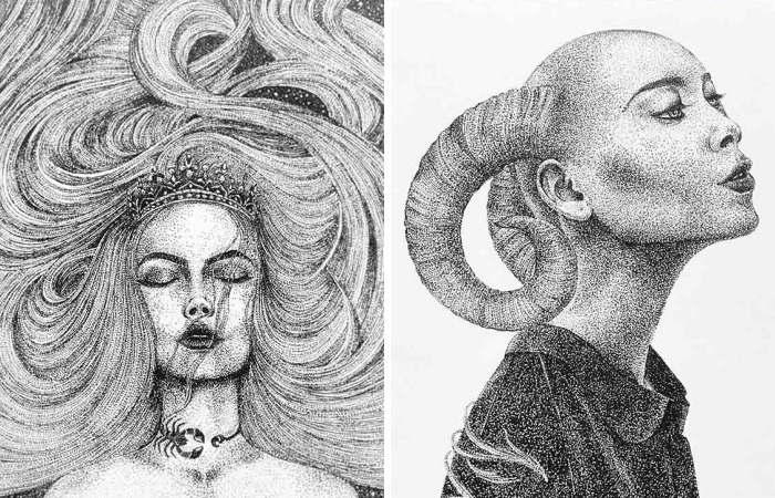 I Spent An Entire Year Creating Zodiac Signs As Beautiful Ladies Using Only Dots